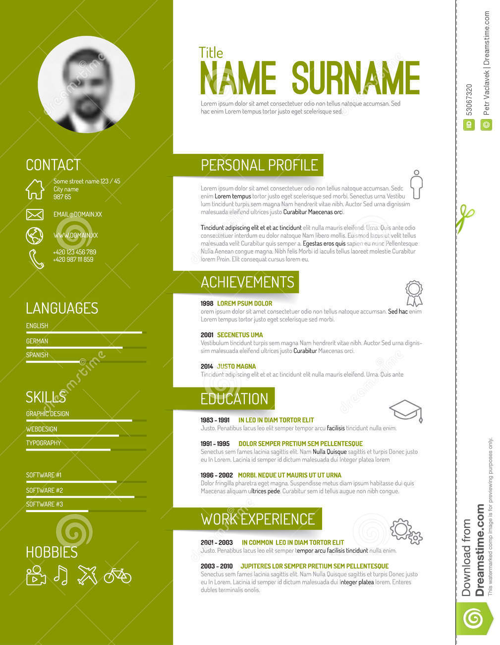 Cv / Resume Template Stock Vector - Image: 53067320