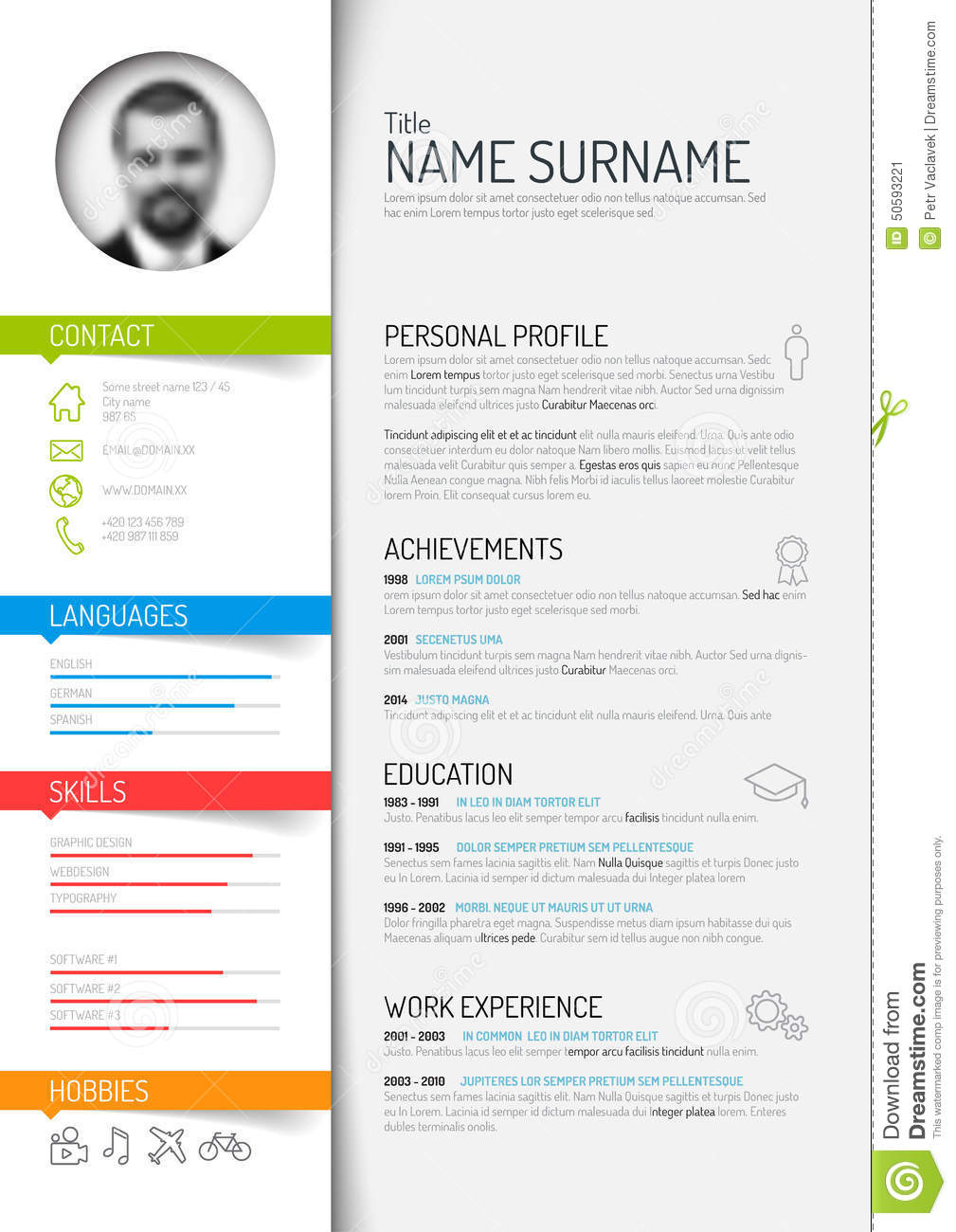 cv    resume template stock vector  illustration of green