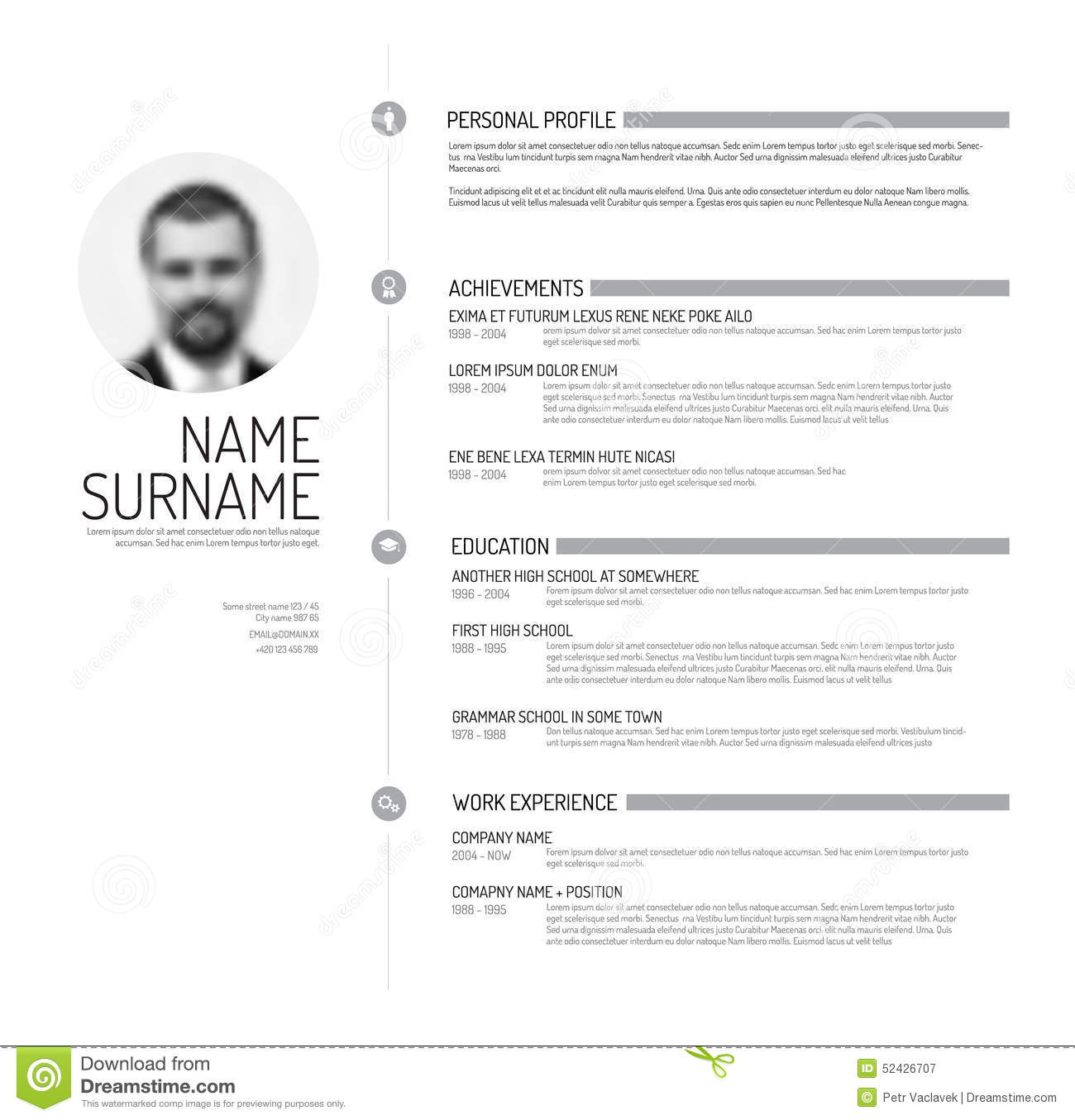 cv resume template stock illustration illustration of flat 52426707