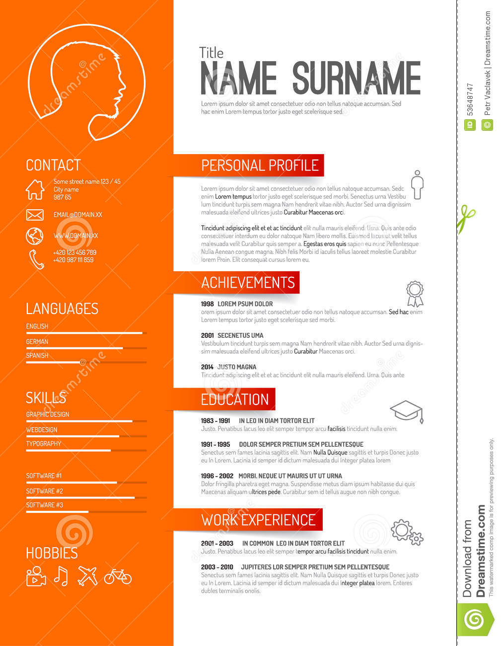 cv    resume template stock vector  image of hiring