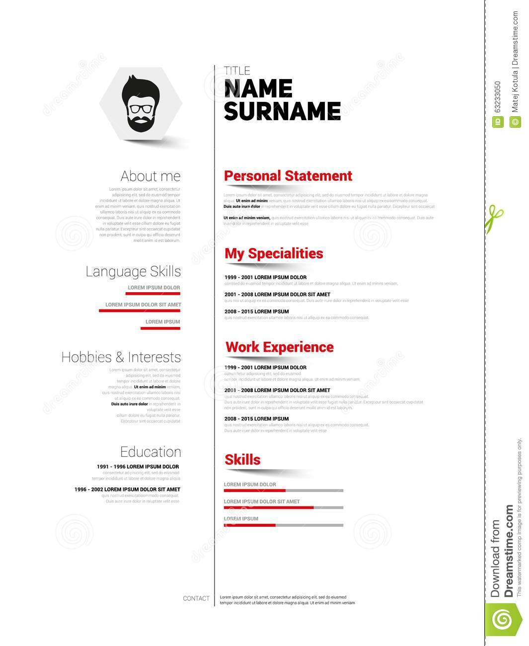 Cv simple bw stock illustration image 63233050 - Simple resume design ...
