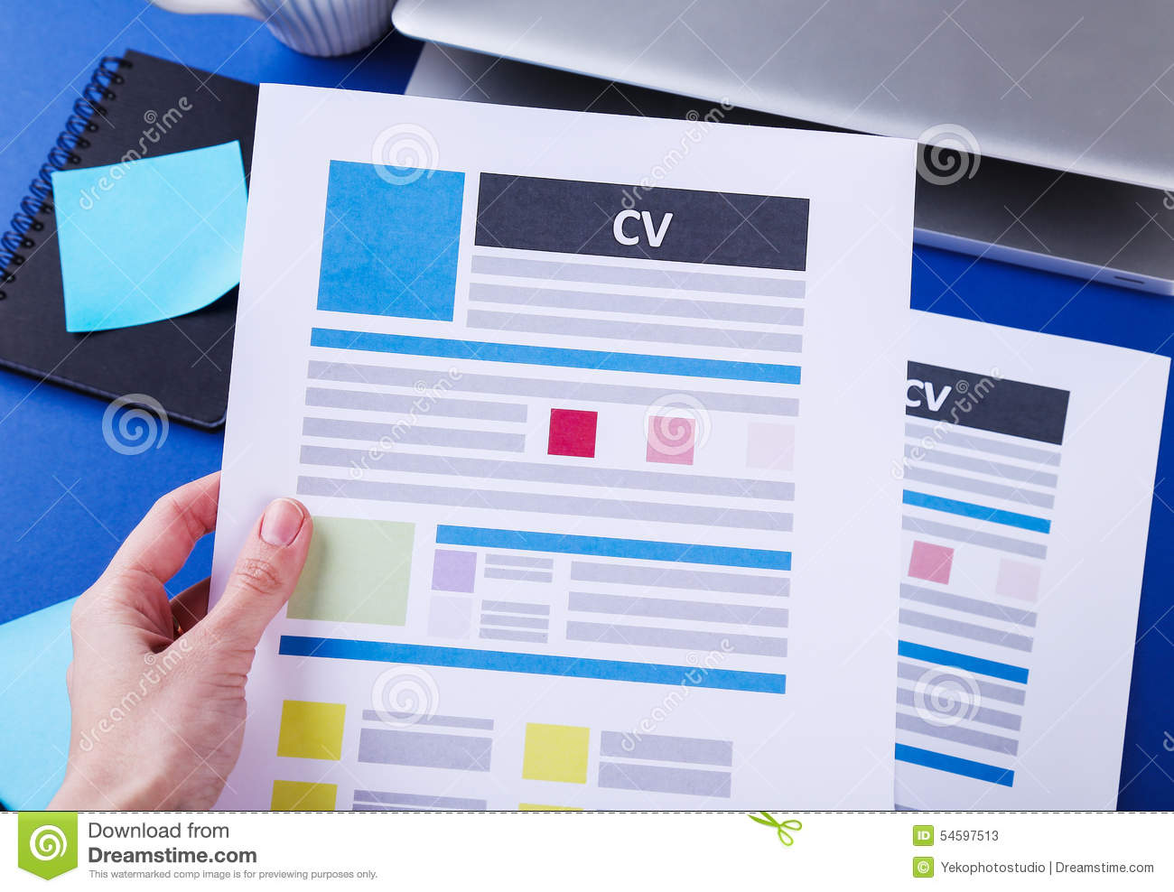 cv on the table stock image  image of business  objects