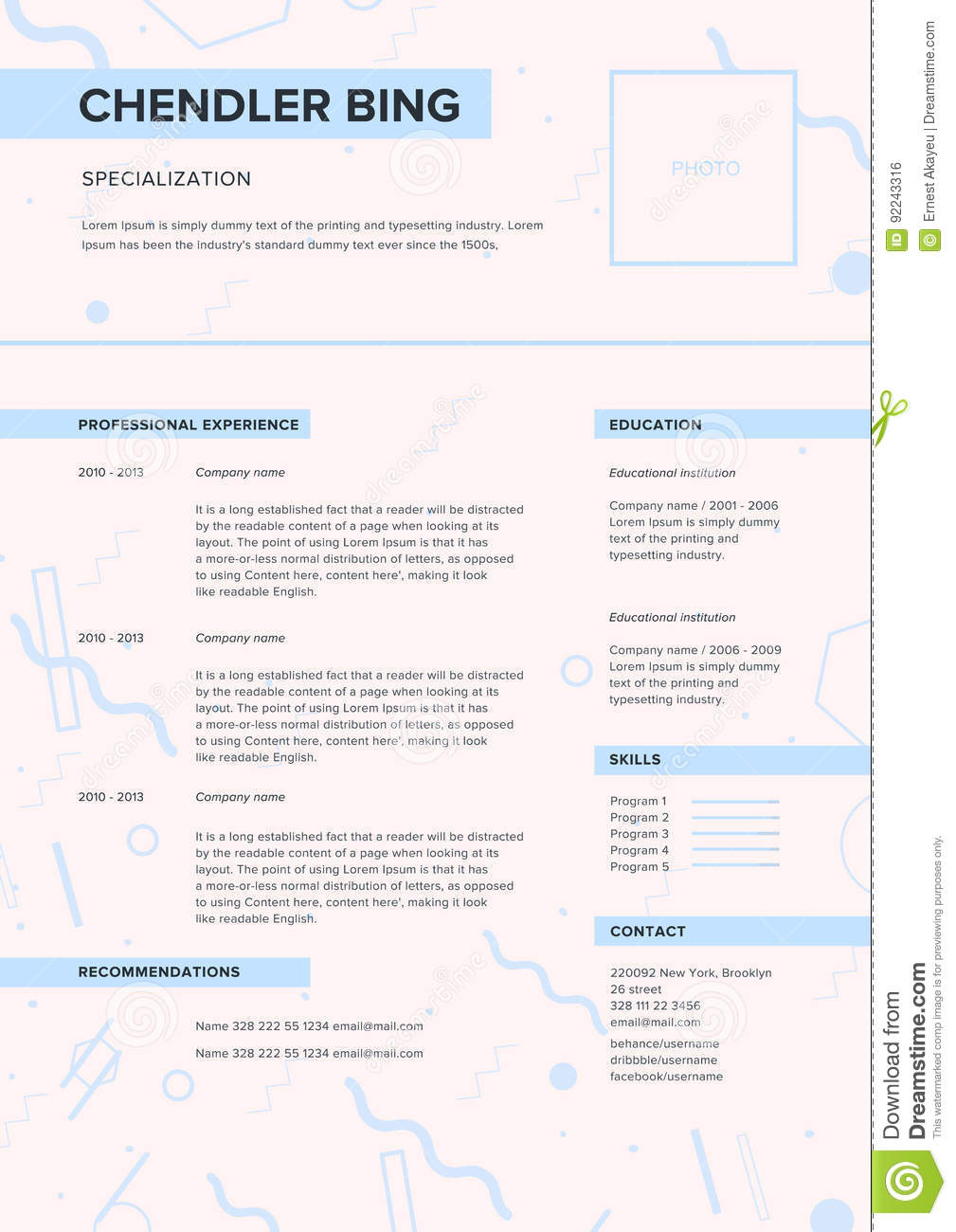 Cv Template Minimalist Resume Web Page Job Application Skills