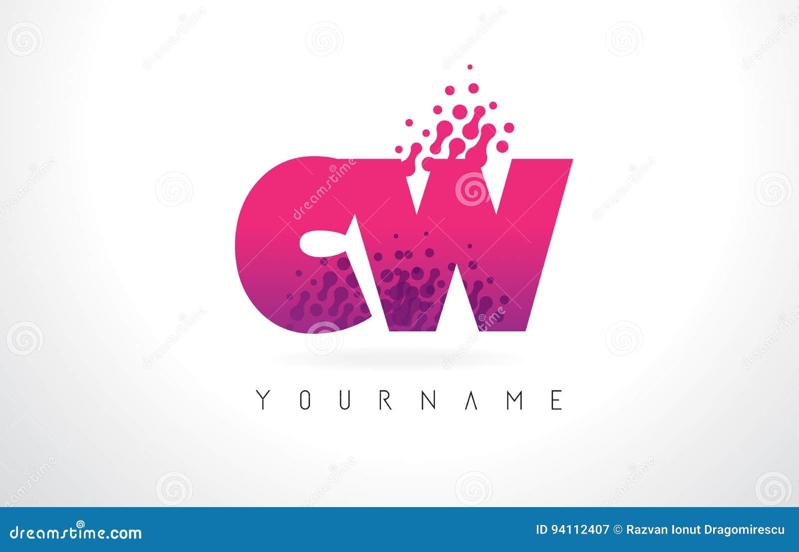 CW C W Letter Logo With Pink Purple Color And Particles Dots Des ...
