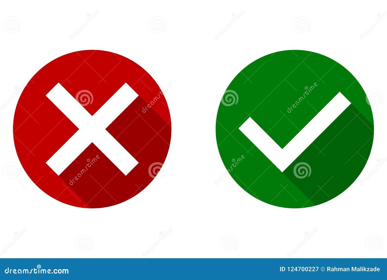 Cwelicha i krzyża znaki Tak, Nie, Zielony checkmark OK i czerwone X ikony, odizolowywać na białym tle