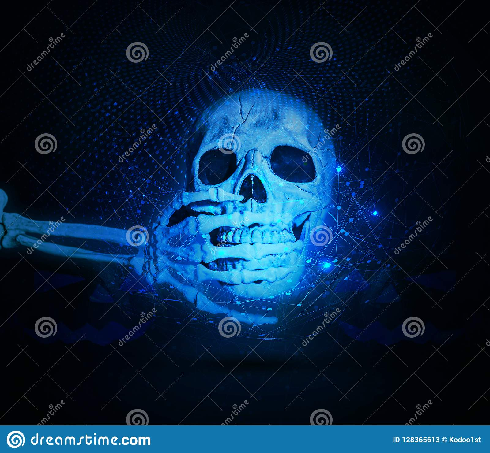 Abstract Shocked Skull on a Cyan network Background