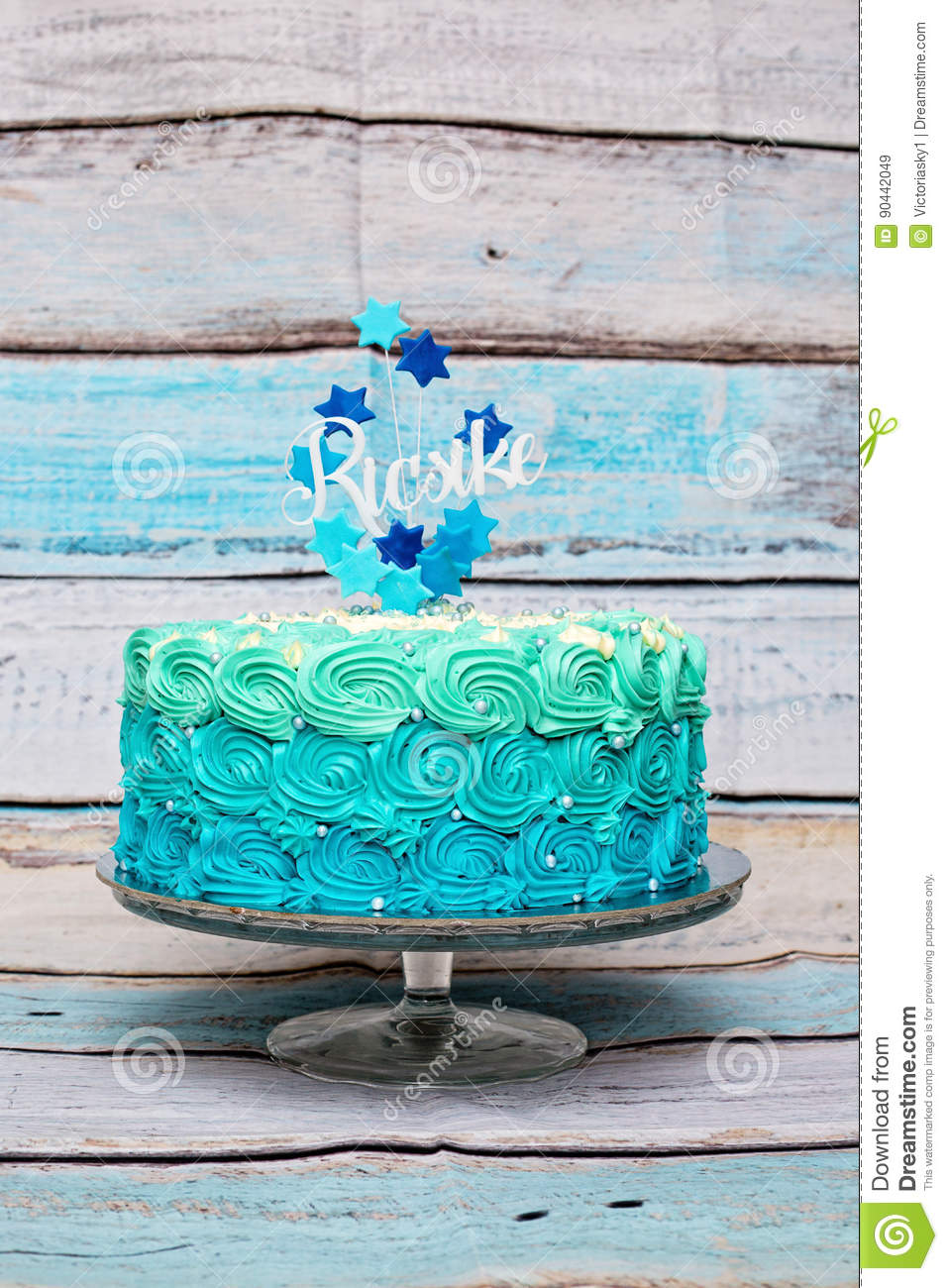 Cyan And Blue One Layer Birthday Cake