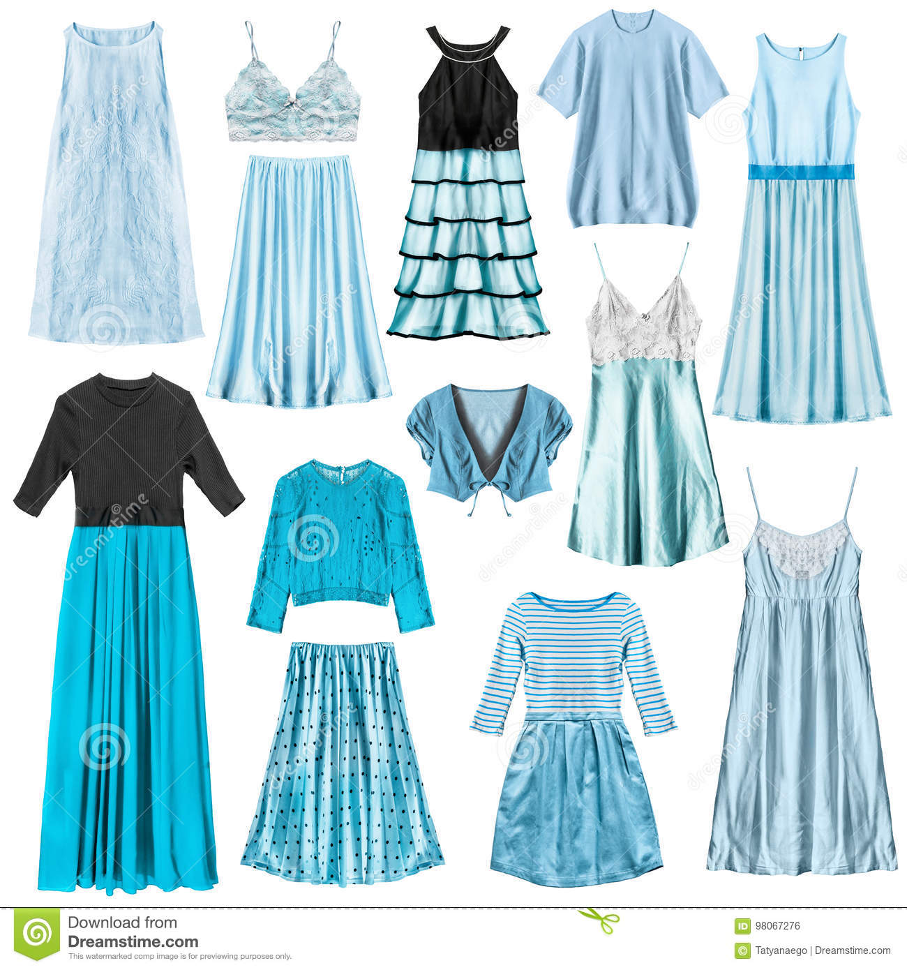 Cyan clothes isolated