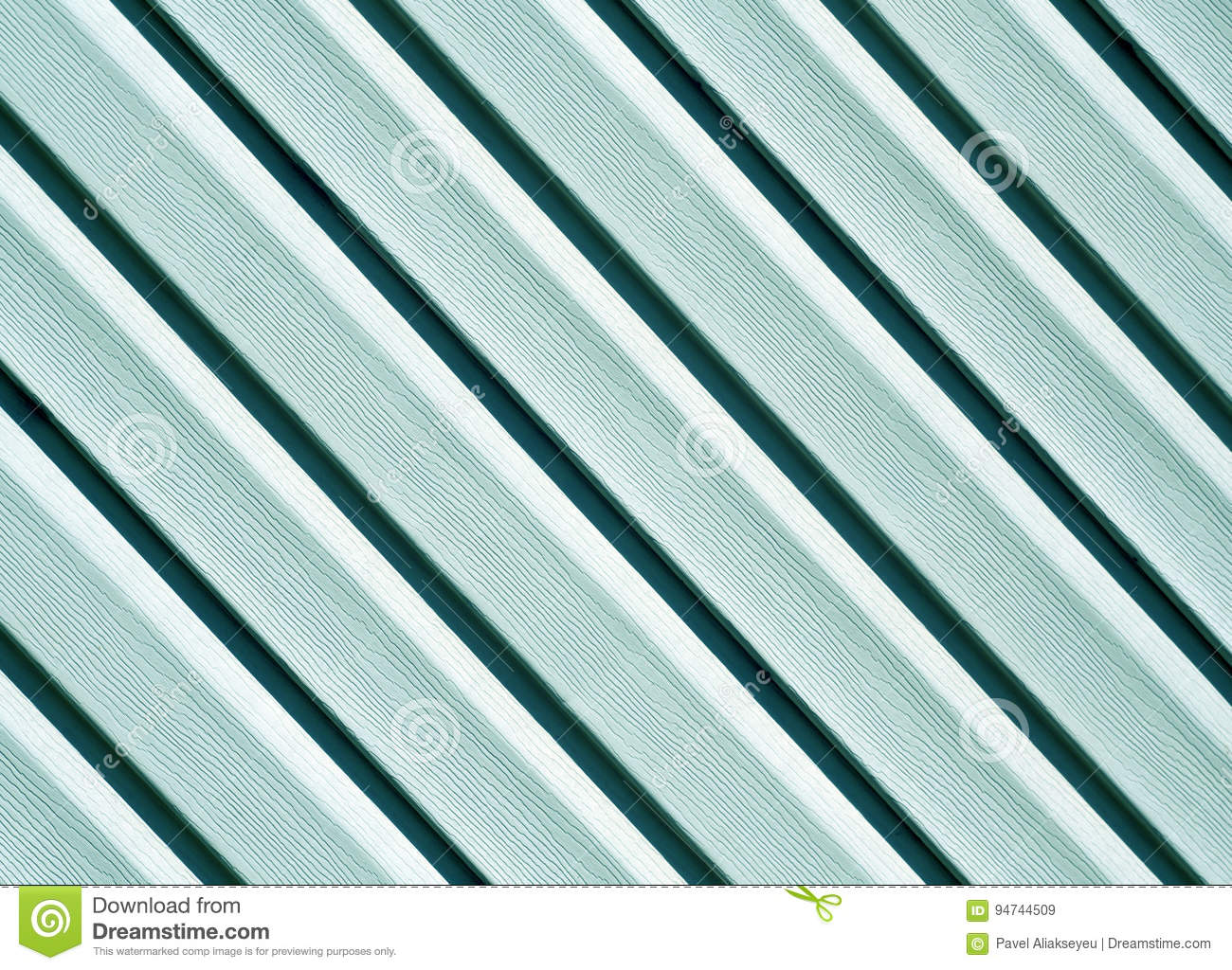 Cyan color pvc siding wall.