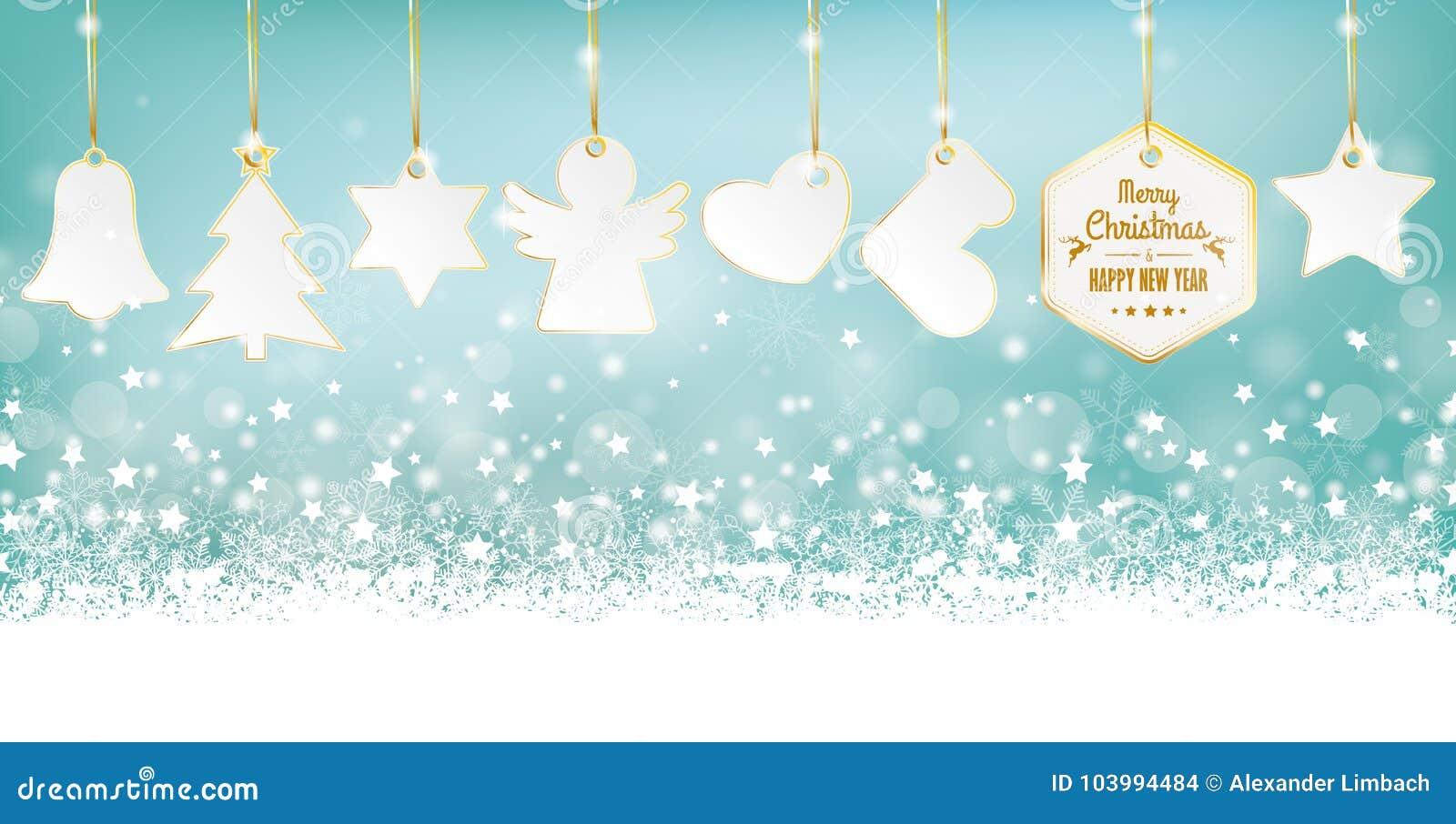 Christmas Header.Cyan Merry Christmas Card Header Snowflakes Golden Stickers
