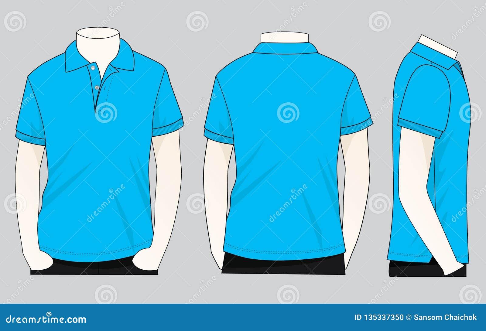 Cyan Polo Shirt Vecor For Template Stock Illustration