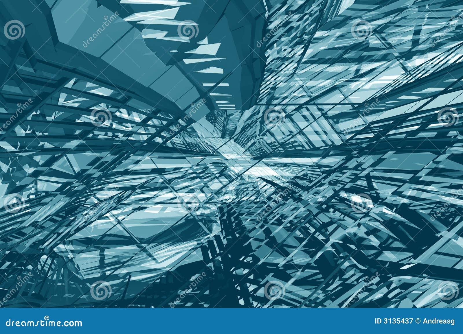 Cyan Tunnel Deconstruction Stock Illustration. Image Of
