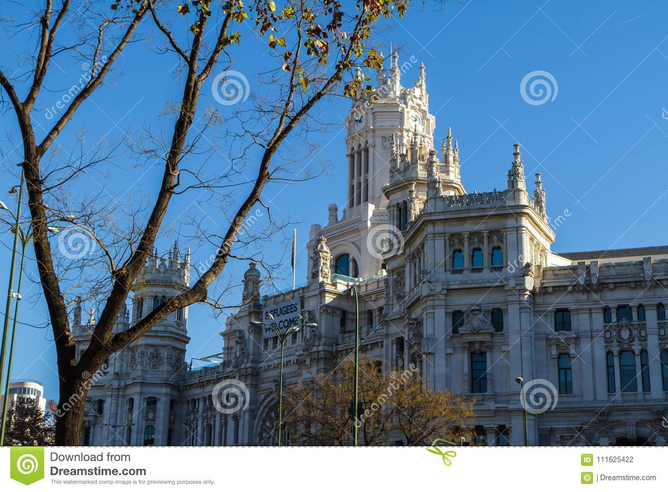 Cybele Palace, formerly the Palace of Communication in Madrid, Spain. Currently the seat of the City Council 29.12,2016