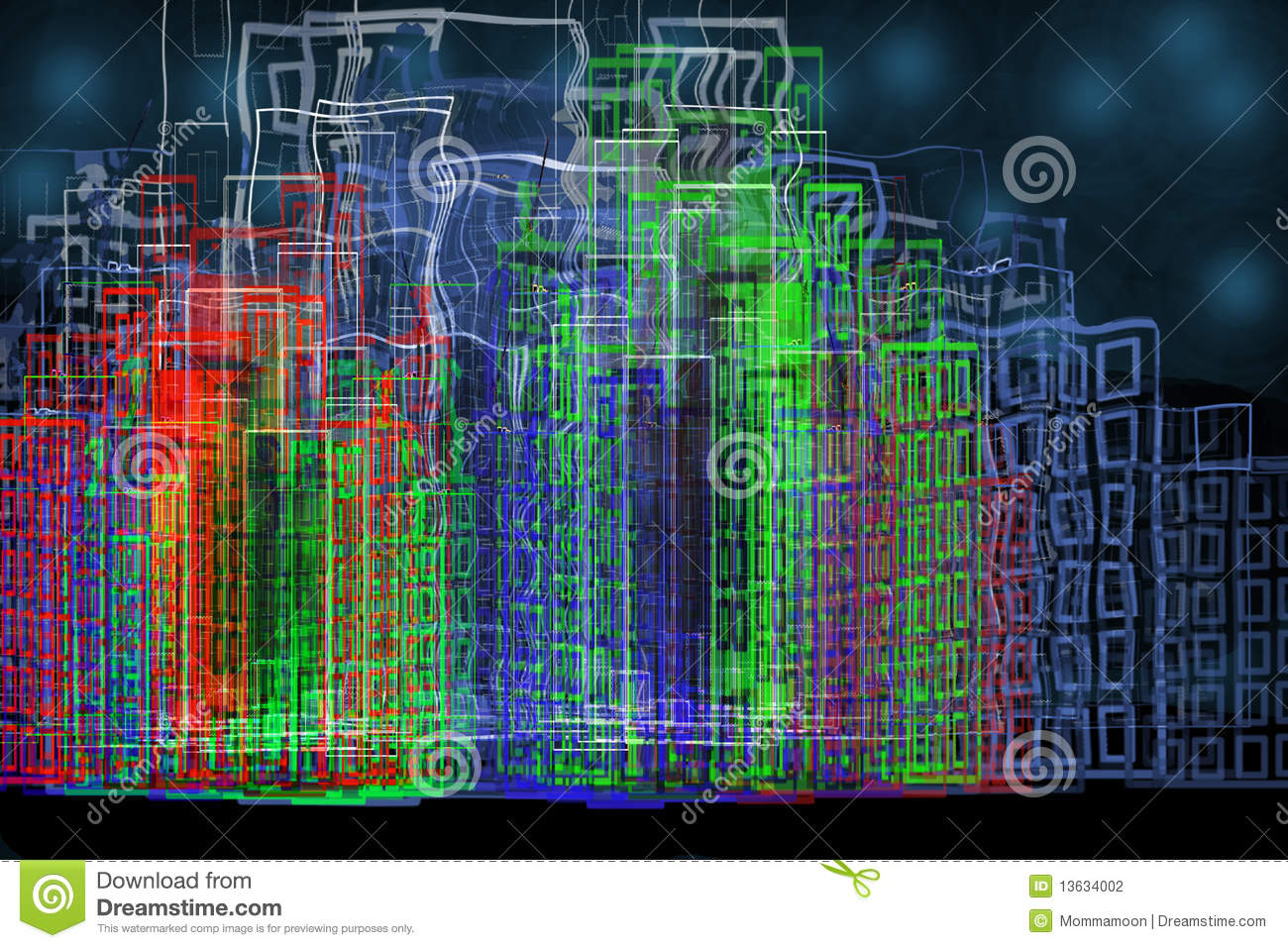Cyber City With Neon Lights Stock Photo - Image of ...