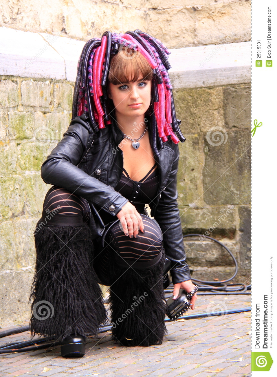 cyber gothic girl street editorial photo image of