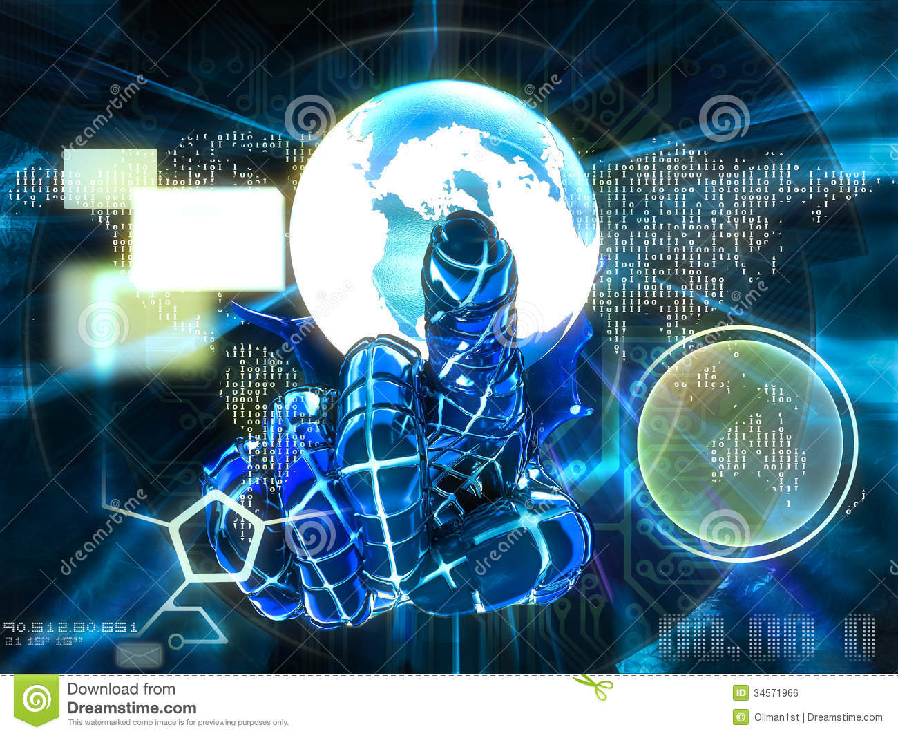 Cyber Index Finger Pointing To The Screen 3d Illus Stock