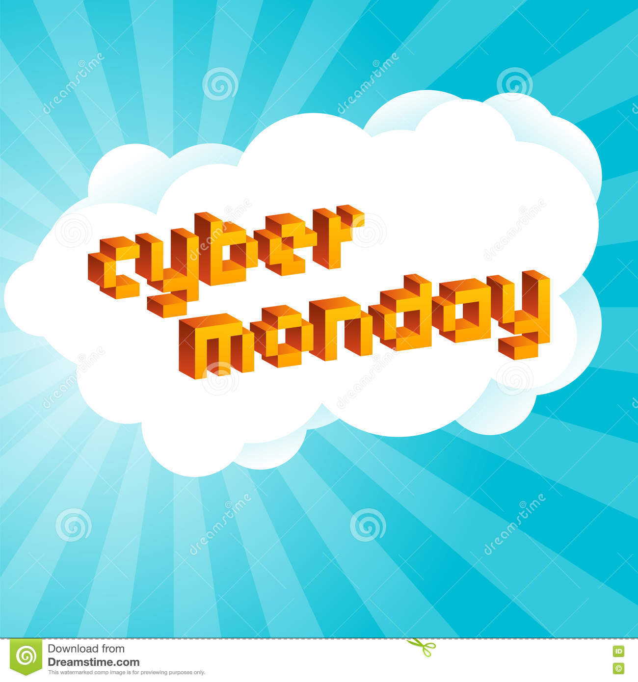Cyber Monday Background Digital Promo Text In Style Of Old 8 Bit