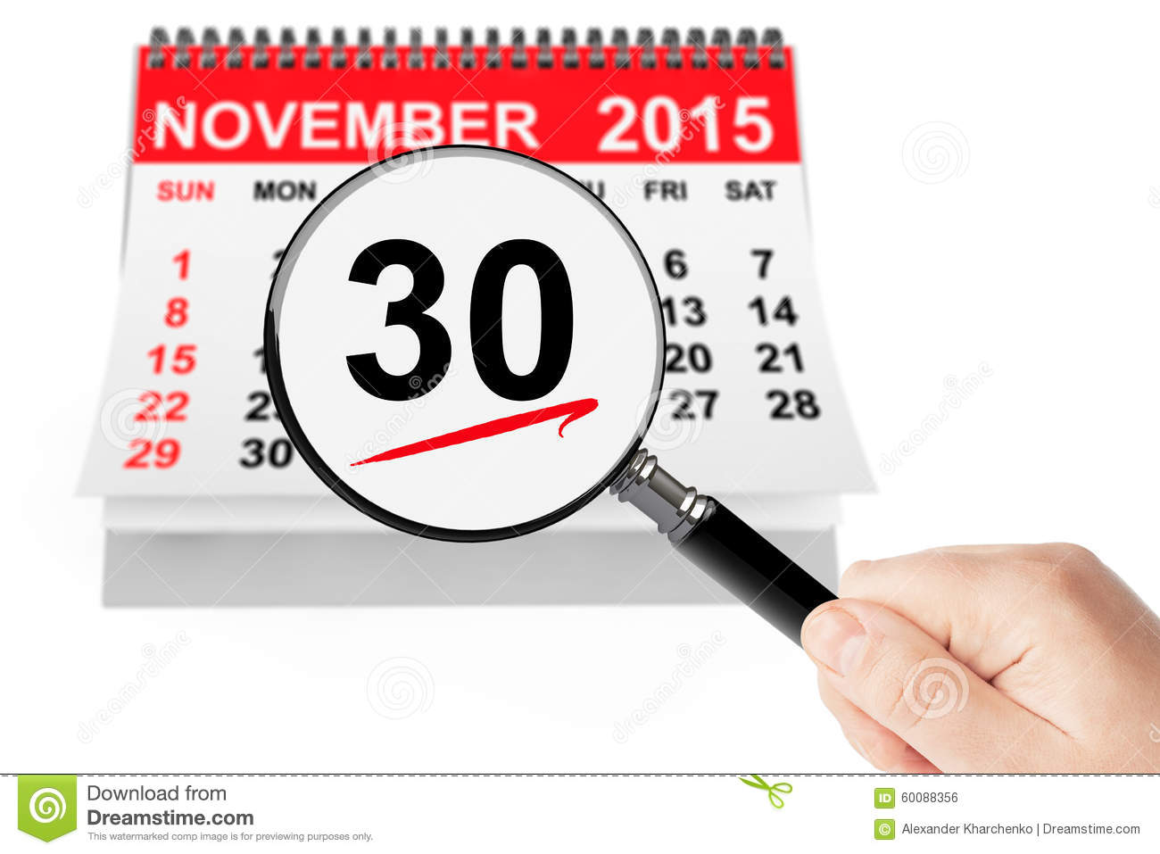 Cyber Monday Concept. 26 November 2015 Calendar With Magnifier ...