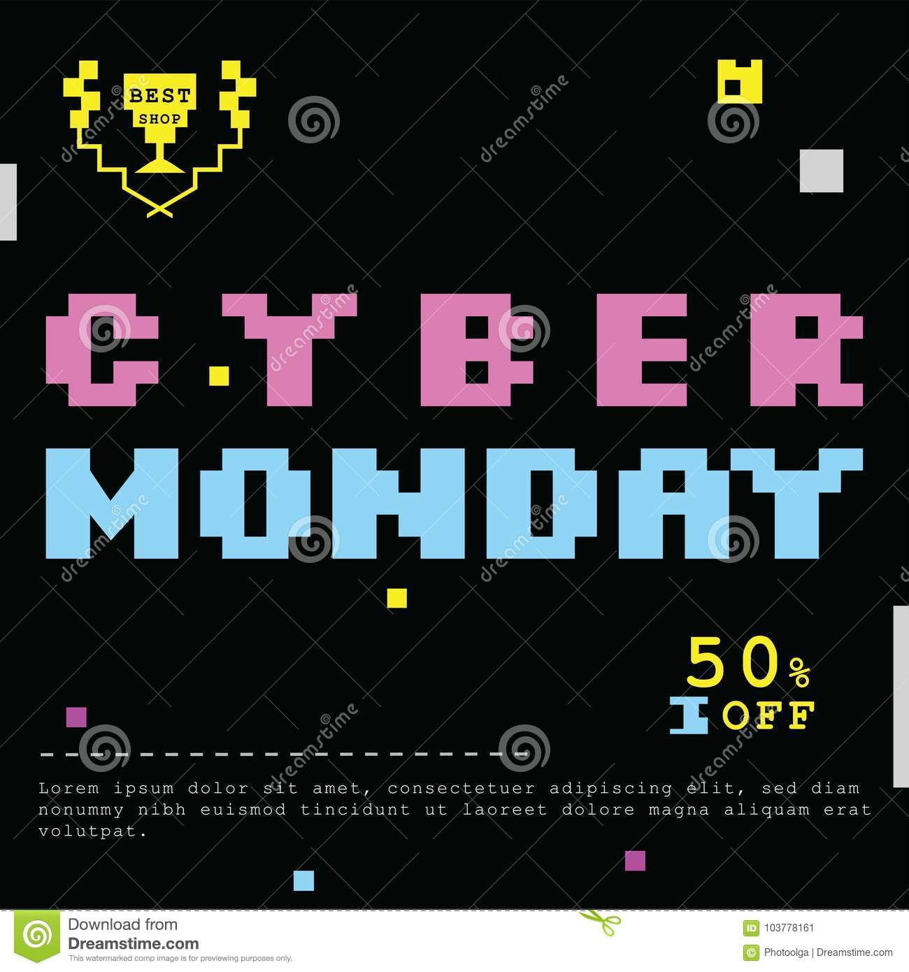 0a69f5d546 Cyber monday deals banner. Pink yellow blue pixel design elements on black  background.