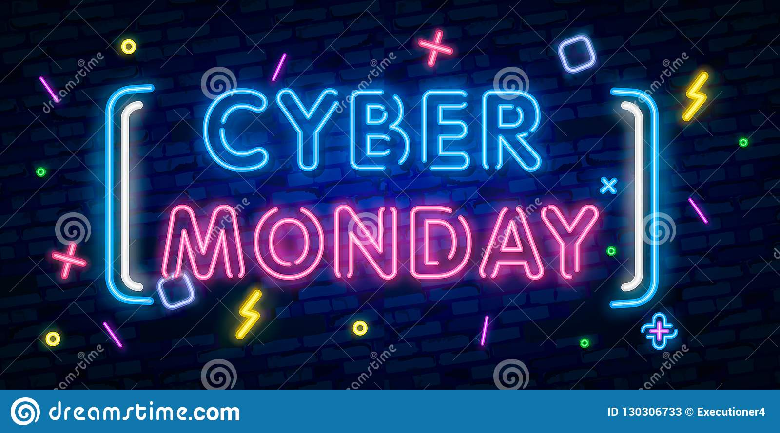 Cyber Monday, discount sale concept illustration in neon style, online shopping and marketing concept, vector illustration. Neon l