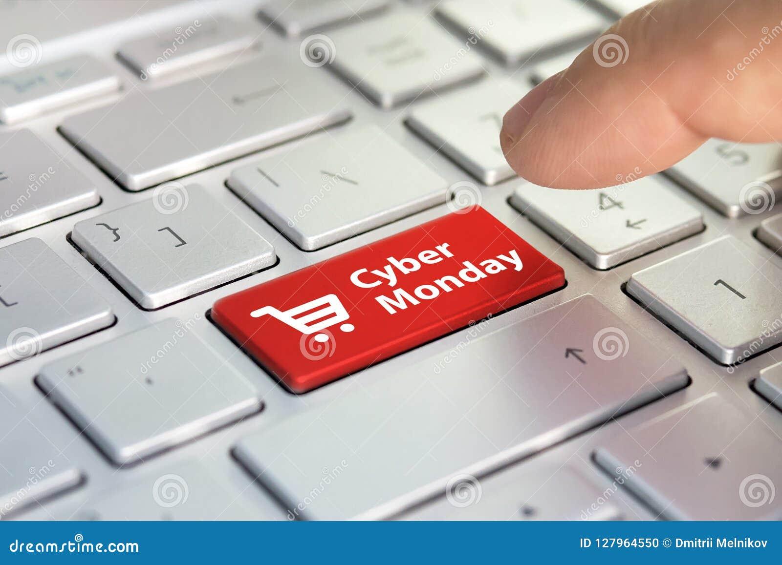 Cyber Monday on key board. shopping enter button key on keyboard. Color button on the gray silver keyboard of modern ultrabook. ca