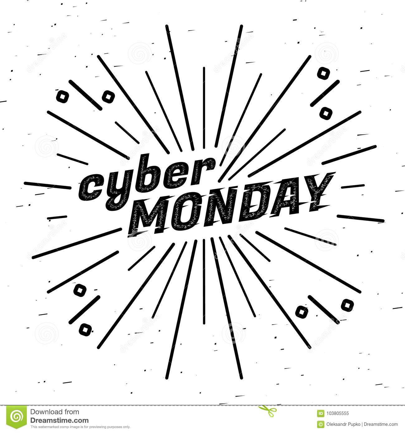 Cyber Monday Sale Label. Template Design Web Banner For
