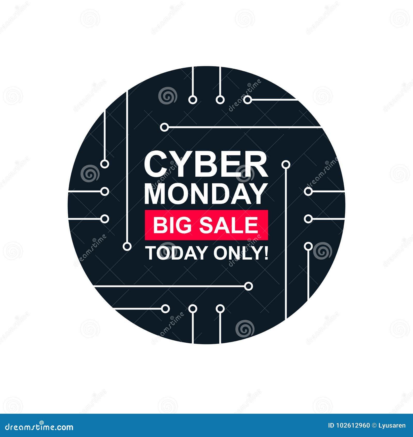 Cyber Monday Sale Labels Set Stock Illustration