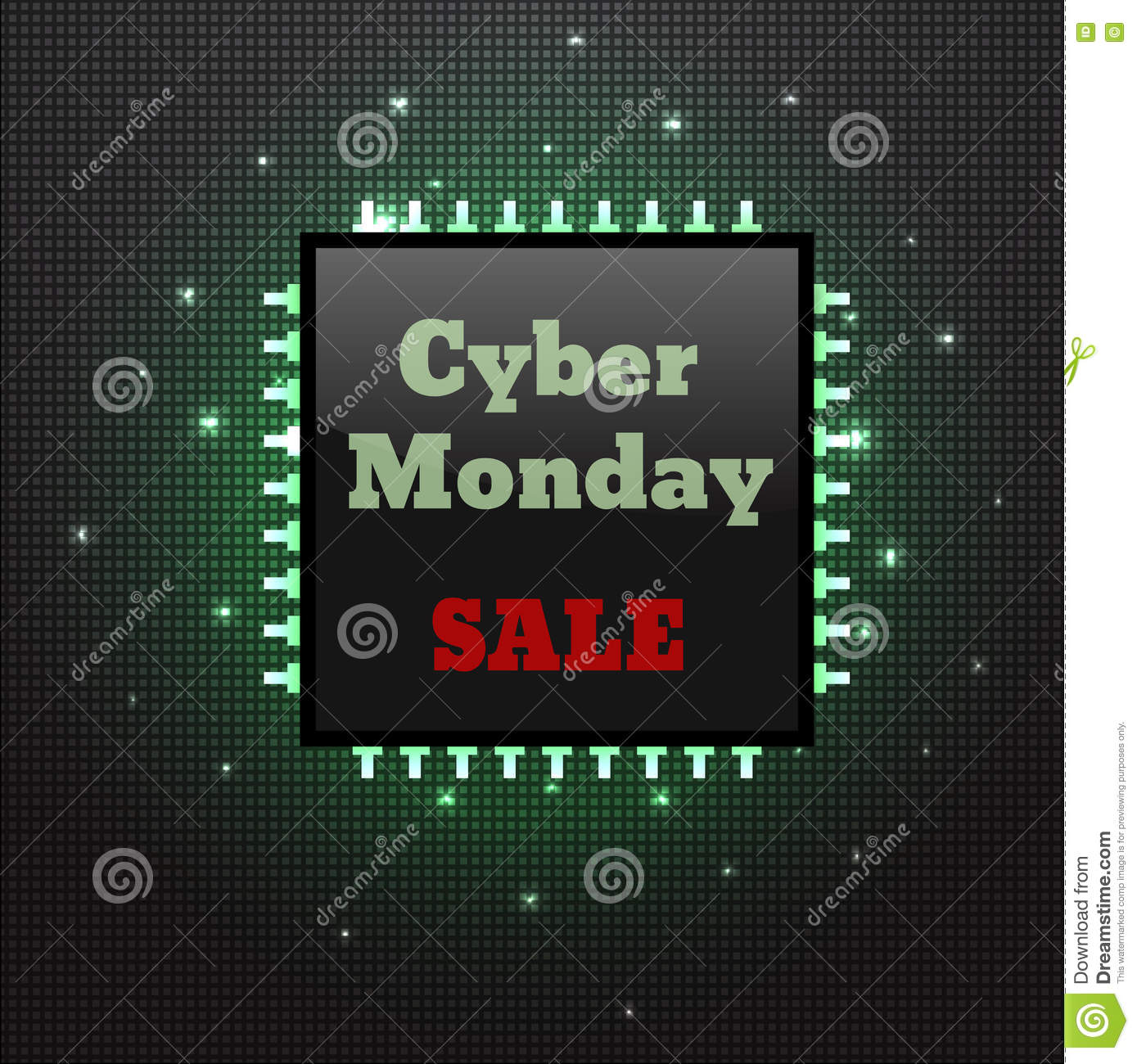 cyber monday sale poster electronic board with processor stock