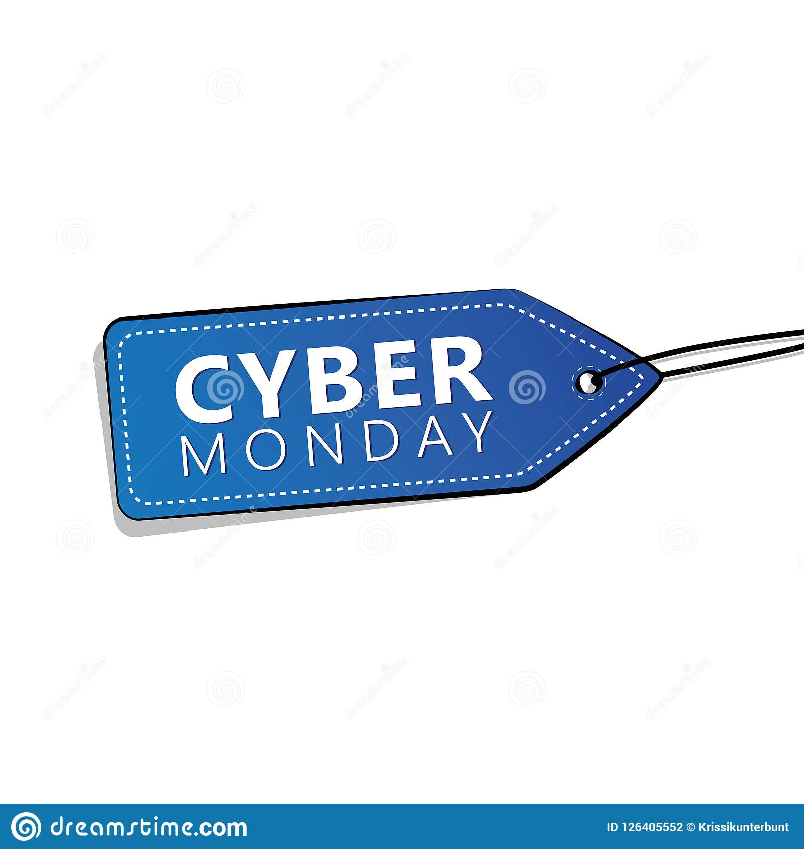 Cyber Monday Sale Promotion Blue Label On White Background