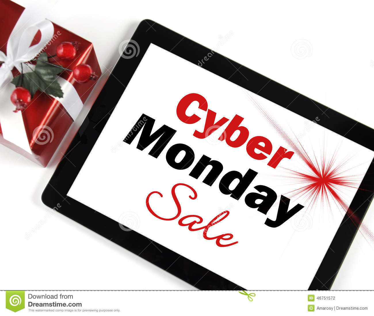 631a25f333 Cyber Monday Sale shopping message on black computer tablet device with gift