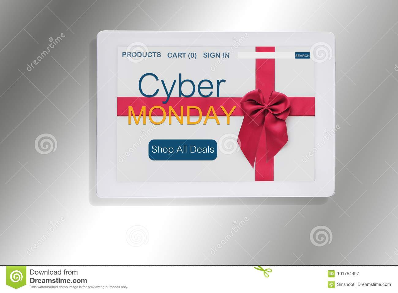 Cyber Monday Website With Red Ribbon On Computer Tablet Stock Image Image Of Event Gift 101754497