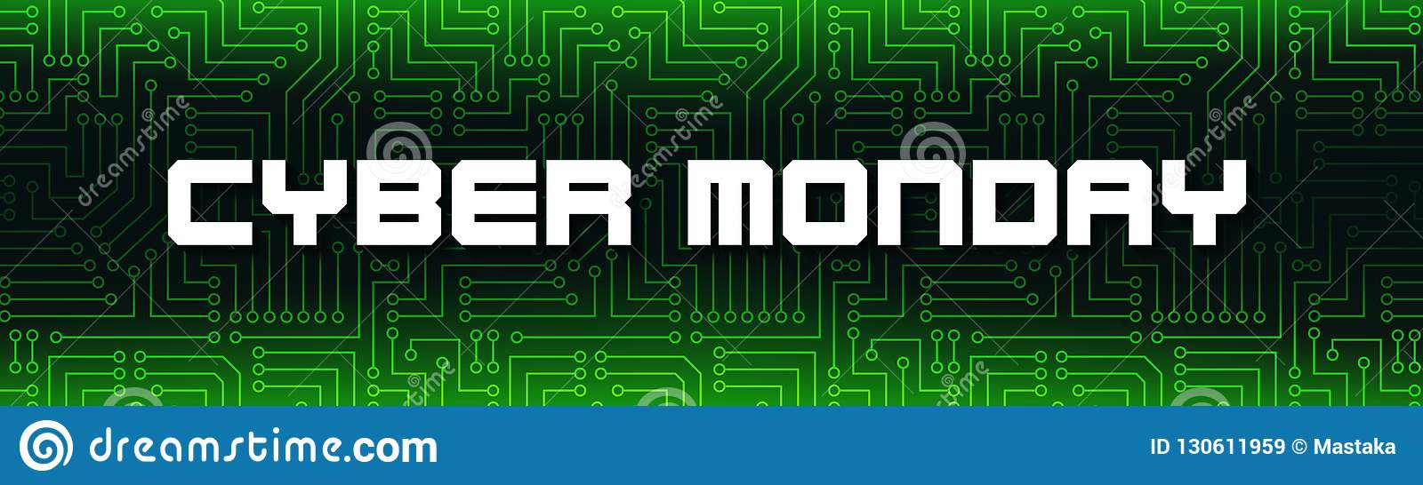 Cyber Monday White Text On Green Printed Circuit Board Stock Of Illustration A