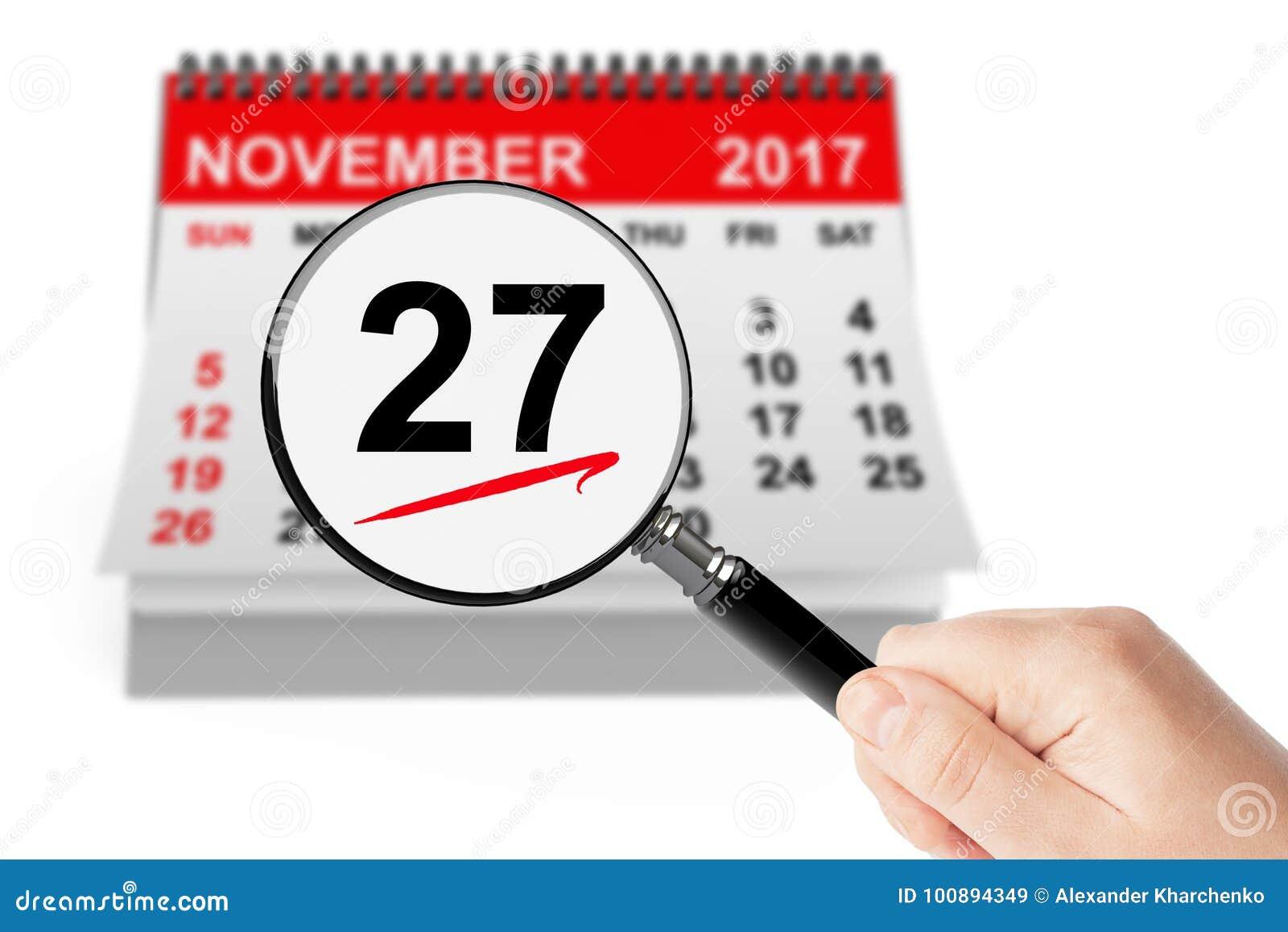 Cyber-Montag-Konzept 27. November 2017 Kalender mit Vergrößerungsglas