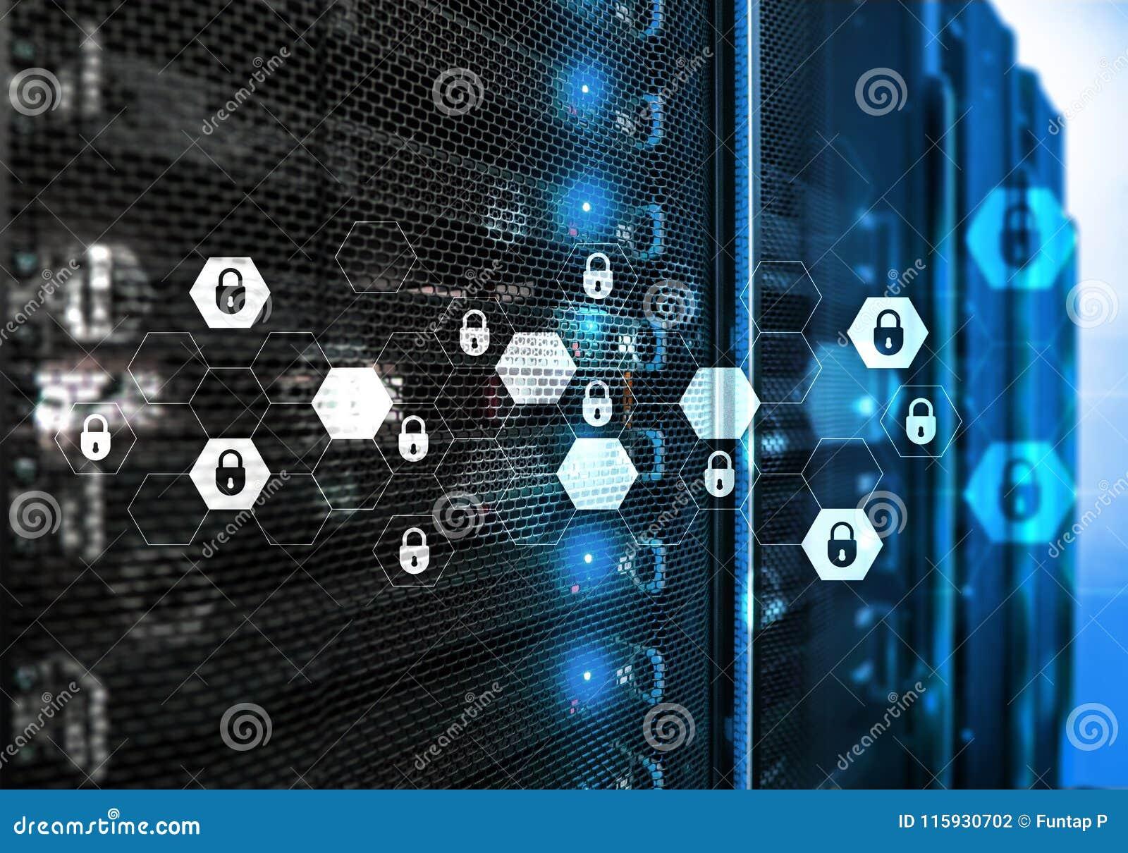Cyber ochrona, dane ochrona, ewidencyjna prywatność Interneta i technologii pojęcie
