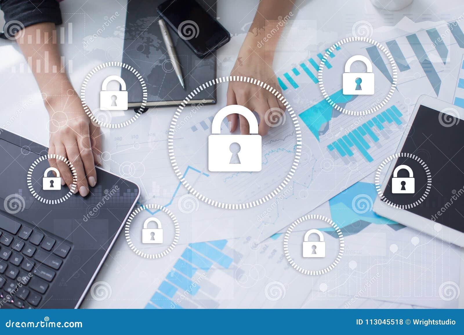 Cyber ochrona, dane ochrona, ewidencyjny bezpieczeństwo i utajnianie, internet technologia i biznesu pojęcie