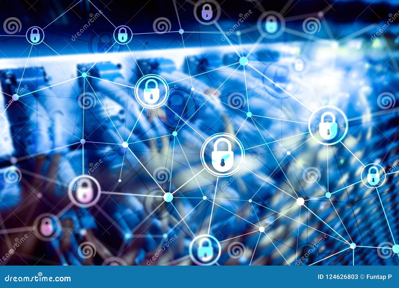 Cyber ochrona, ewidencyjna prywatność, dane ochrony pojęcie na nowożytnym serweru pokoju tle Internet i technologia cyfrowa