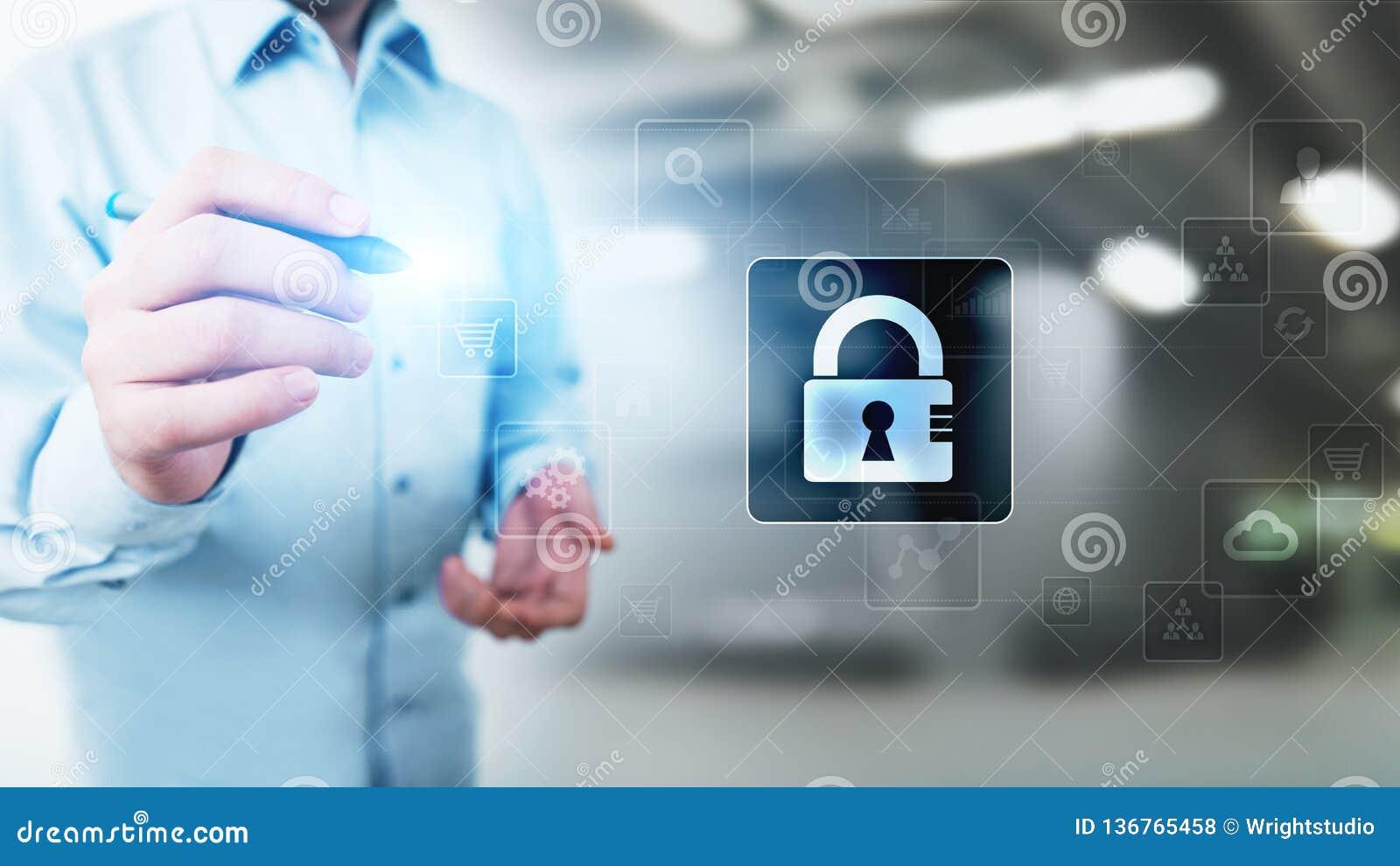 Cyber ochrona, Osobisty ochrona danych, ewidencyjna prywatność Kłódki ikona na wirtualnym ekranie pojęcia odosobniony technologii