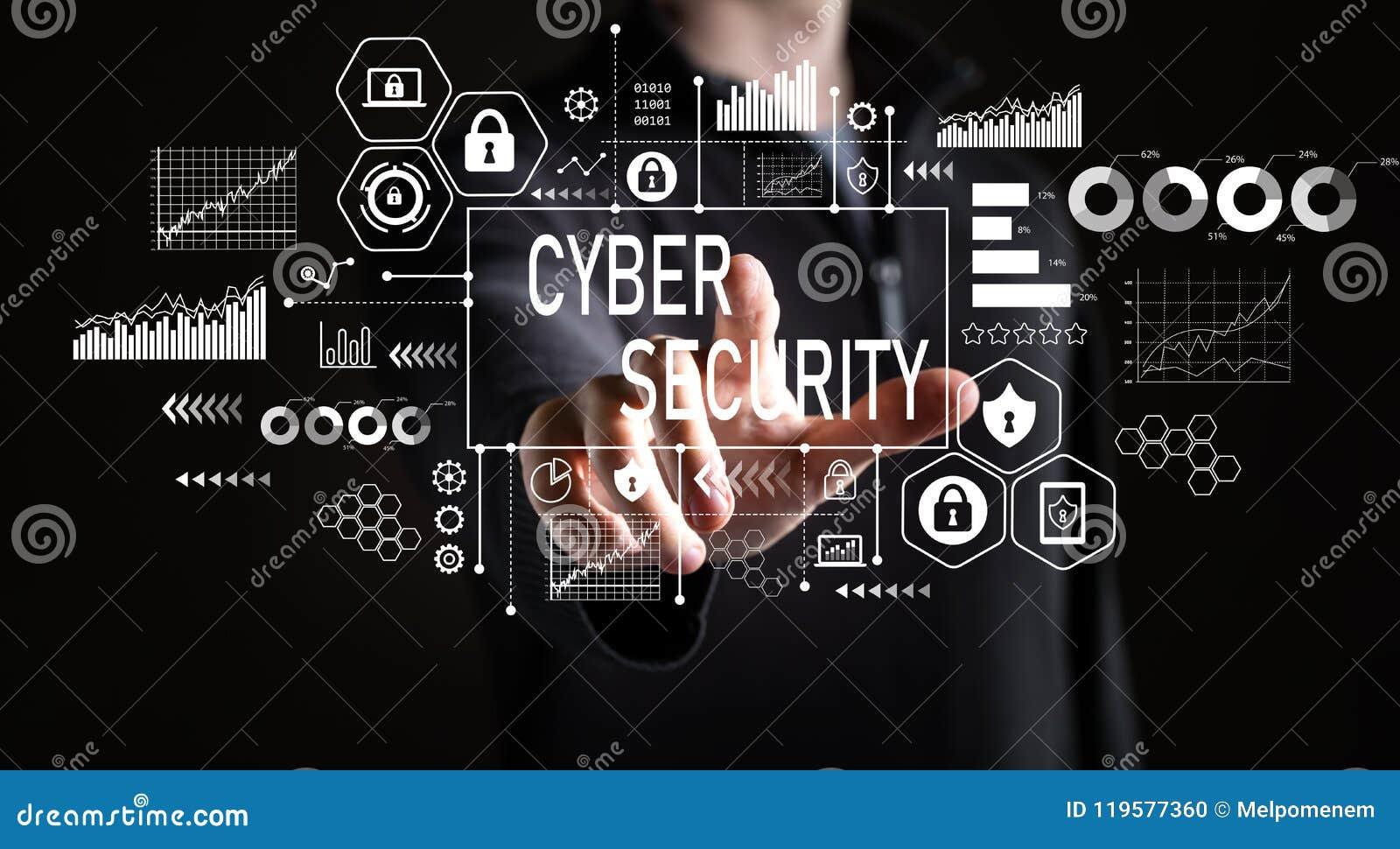 Cyber ochrona z biznesmenem