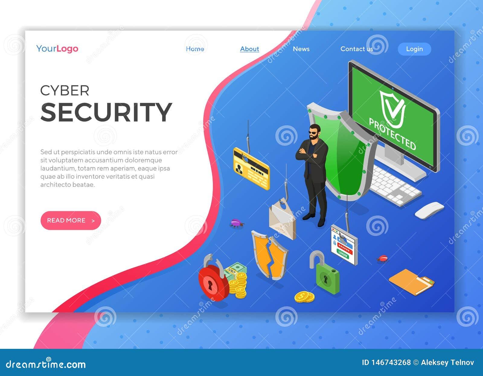 Cyber ochrony Isometric poj?cie
