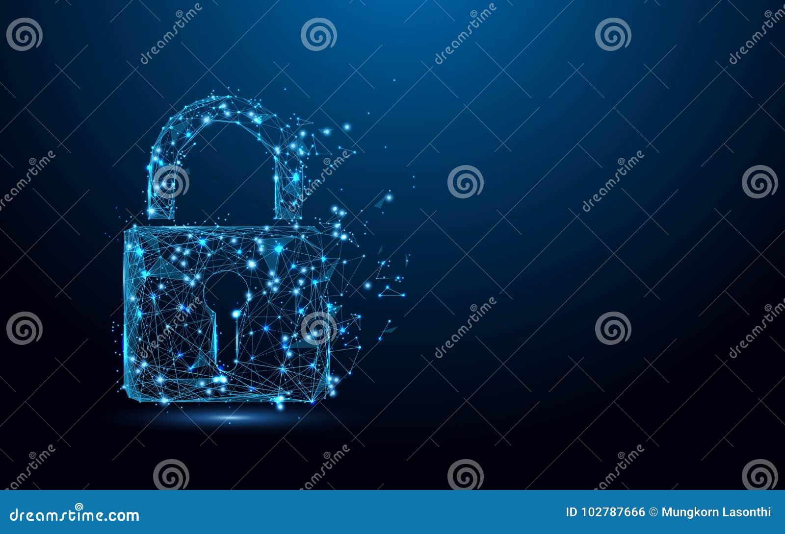 Cyber ochrony pojęcie Blokuje symbol od linii i trójboków, punkt złączona sieć na błękitnym tle