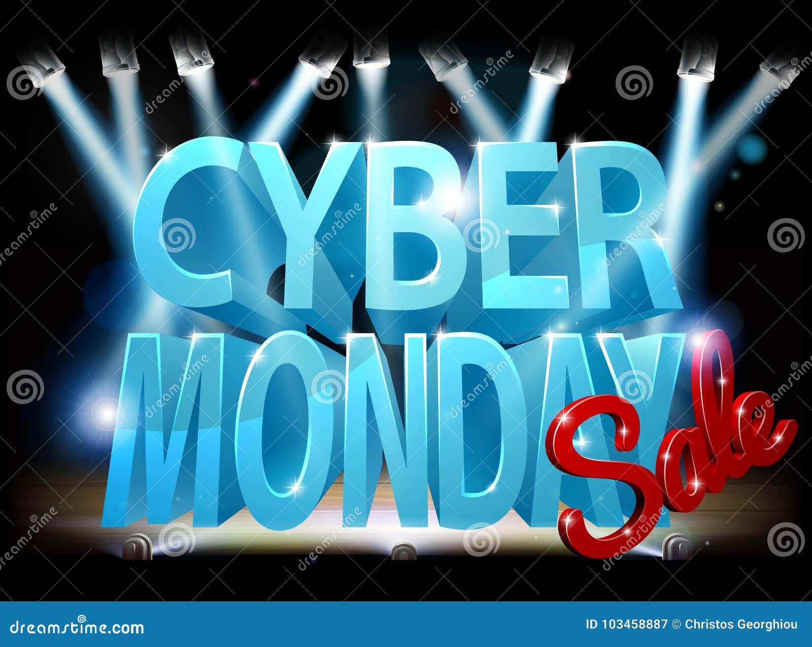 Cyber Poniedziałku sprzedaży sceny znak
