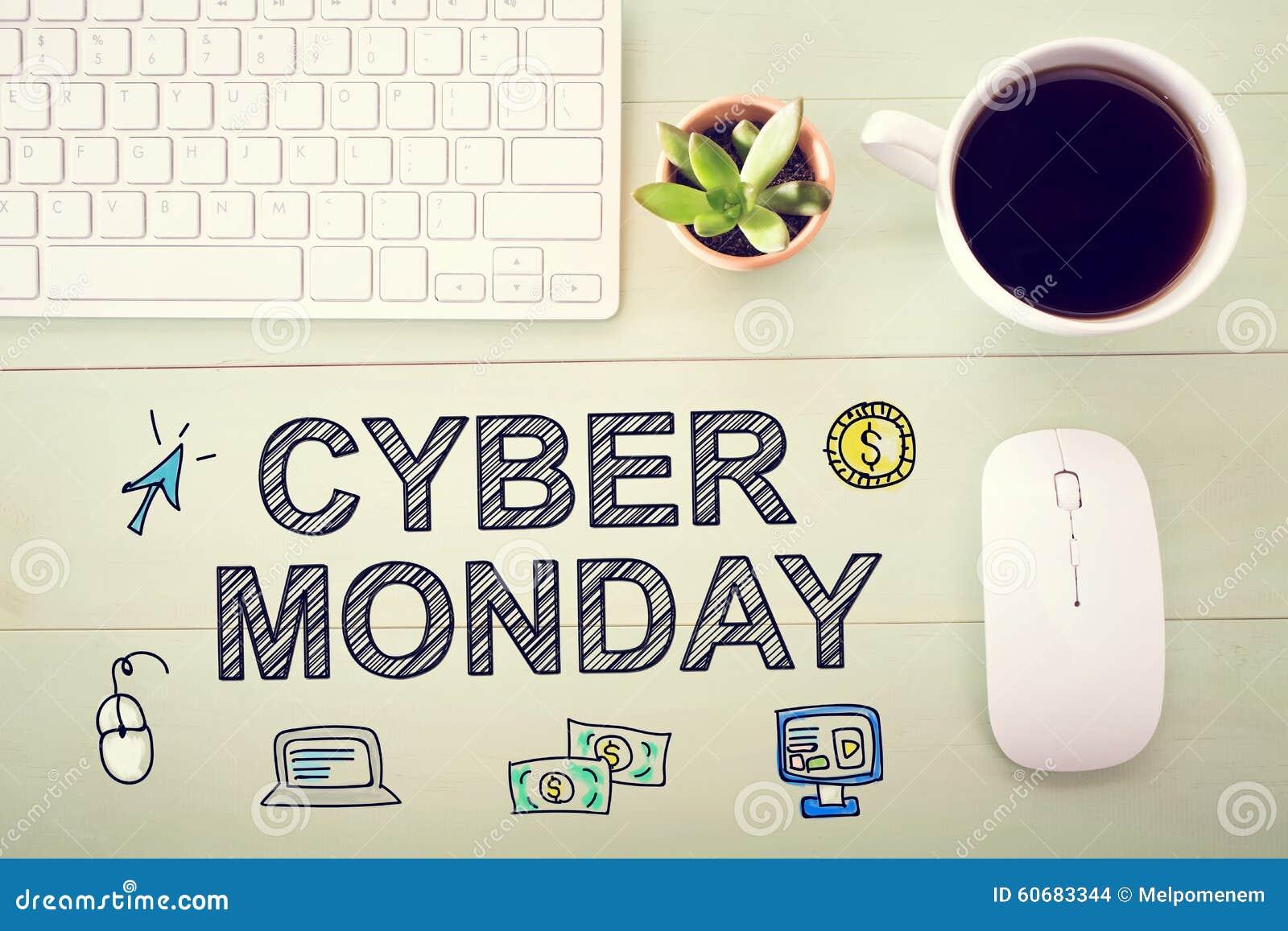 Cyber Poniedziałku wiadomość z stacją roboczą