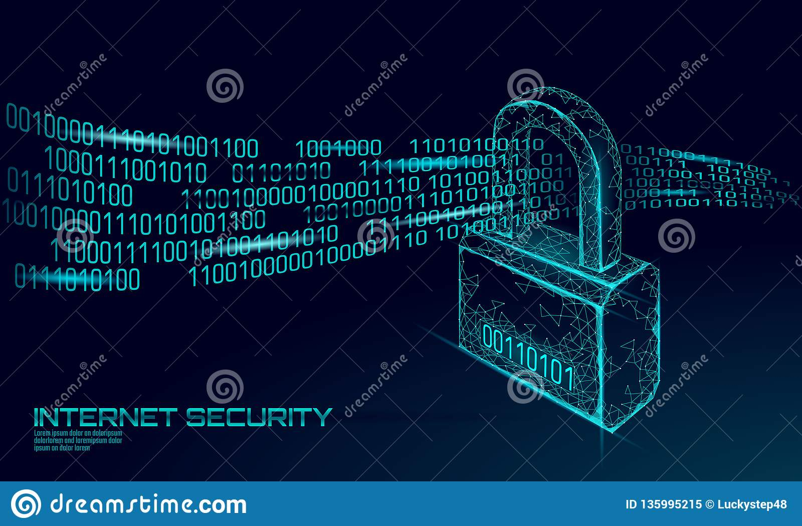 Cyber safety padlock on data mass. Internet security lock information privacy low poly polygonal future innovation
