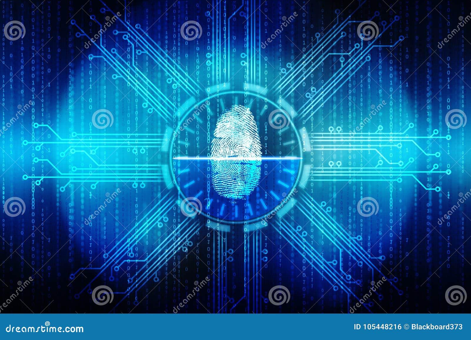 Fingerprint Scanning Technology Concept Illustration, cyber security backgrond