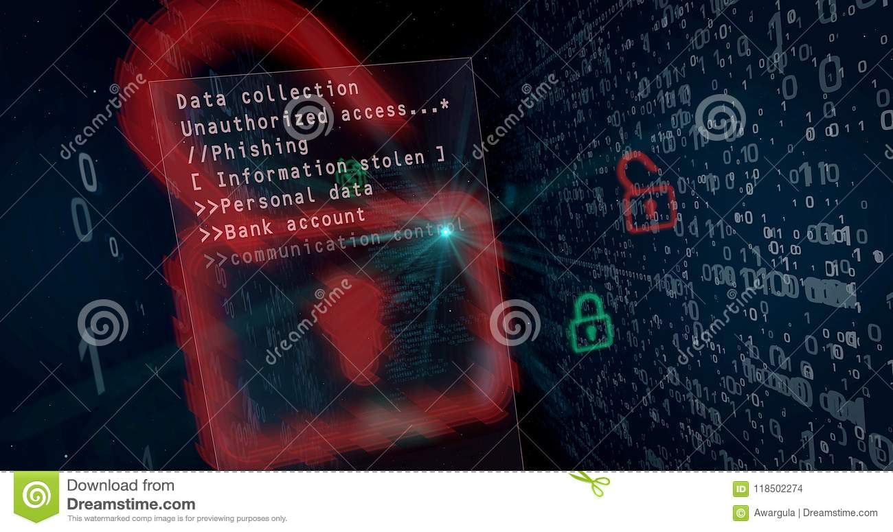 Cyber Security Breach Concept Stock Illustration Of Data