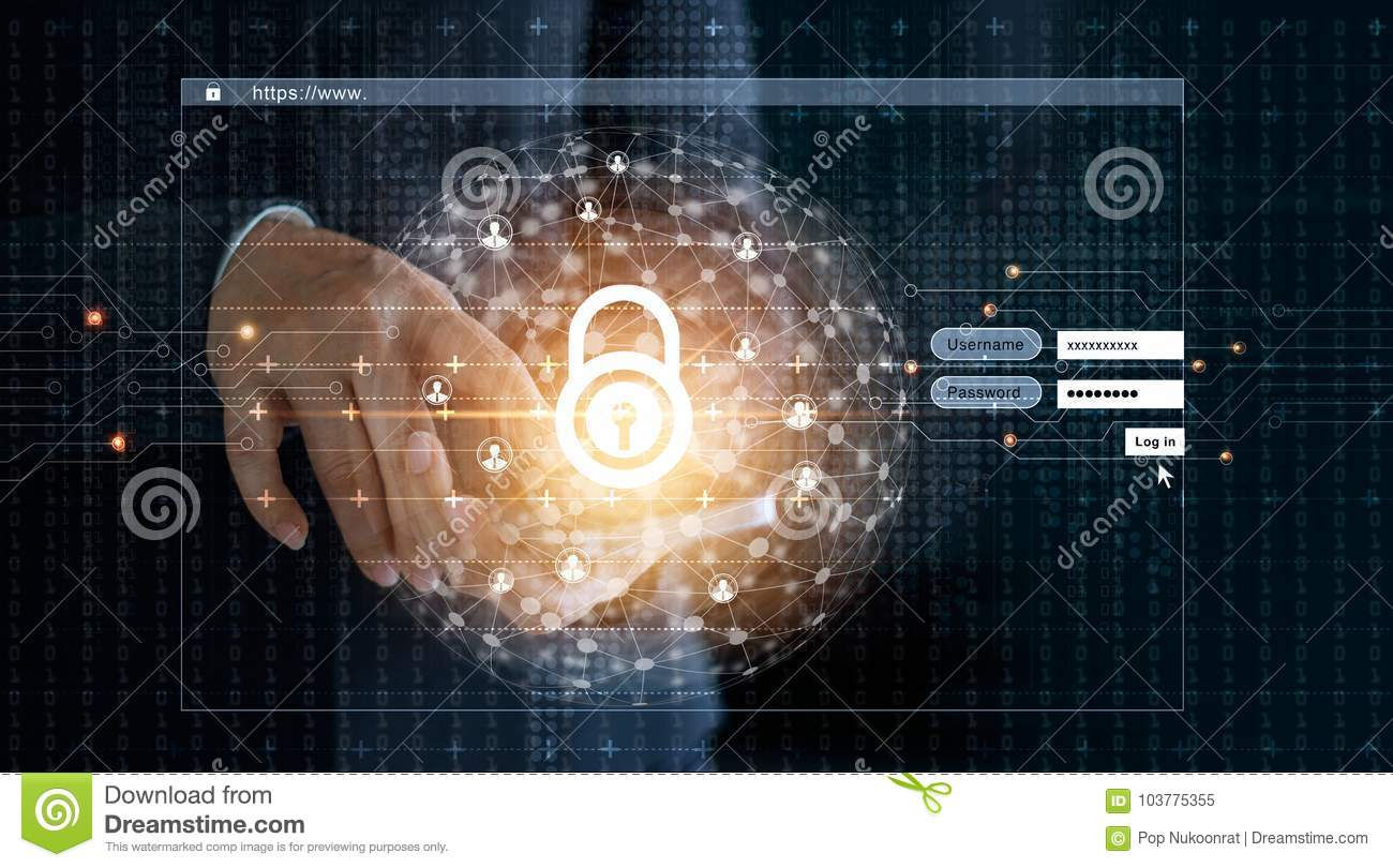 businessman using smartphone and log on screen with lock icon and circle global customer networking a code digital on dark background