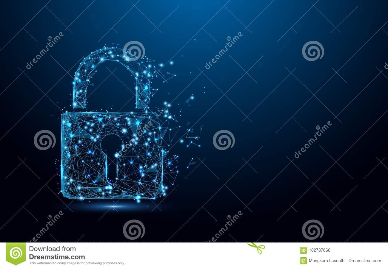 Cyber security concept. Lock symbol from lines and triangles, point connecting network on blue background
