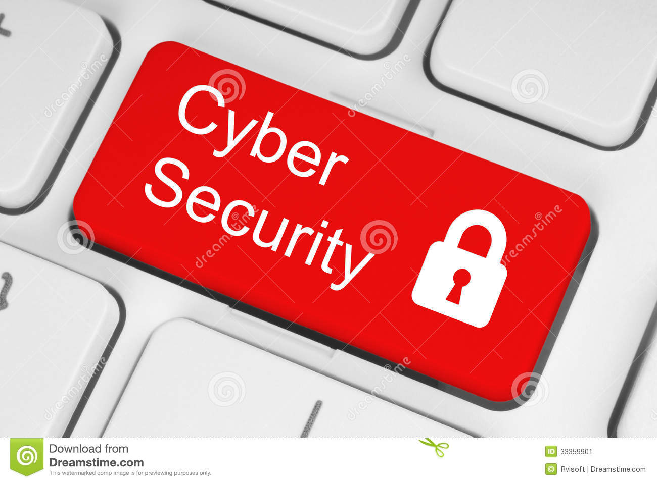 Cyber security concept on red button