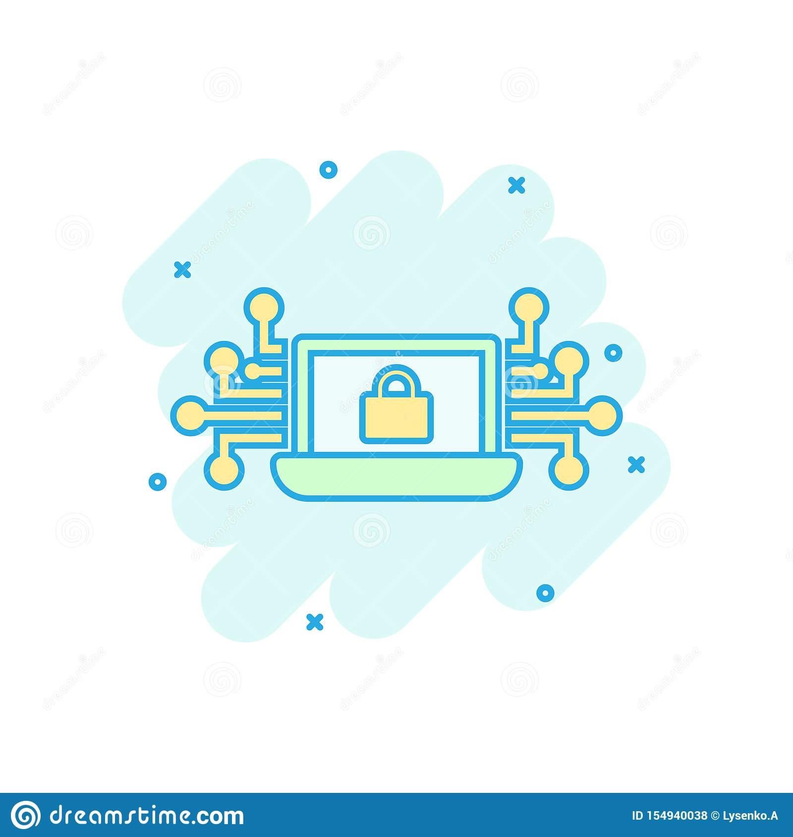 Cyber security icon in comic style. Padlock locked vector cartoon illustration on white isolated background. Laptop business