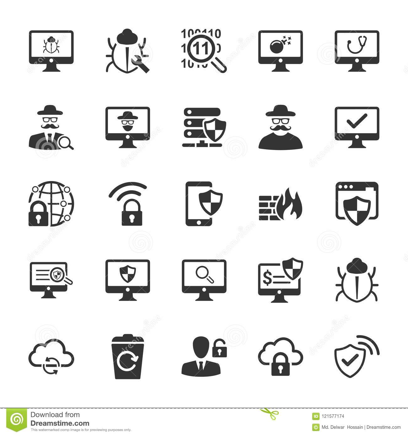 Cyber Security Icons - Gray Version Stock Vector